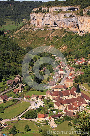 Aerial view village Baume les Messieurs
