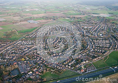 Aerial view of the village of Bavel (Netherlands)