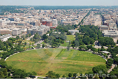 Aerial view of  Washington DC with The White house