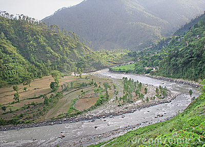 Aerial view of  winding ganga river through uttaranchal himalay