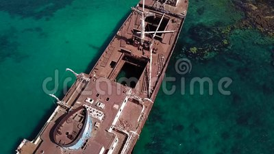 Aerial view of a wreck of a ship in the Atlantic ocean  Wreck of the Greek  cargo ship: Telamon  Lanzarote, Canary Islands, Spain  Corrosion, accident