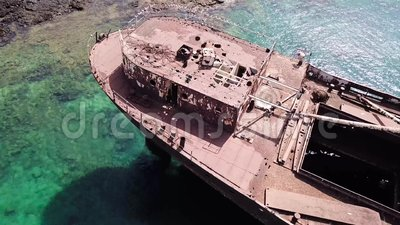 Aerial view of a wreck of a ship in the Atlantic ocean  Wreck of the Greek  cargo ship: Telamon  Lanzarote, Canary Islands, Spain  Boat, disaster
