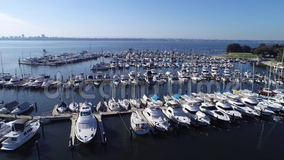Aerial drone video view of Yacht Boat Marina set on Swan River in western Australia. Aerial view of Yacht Boat Marina set on Swan River in western Australia stock video footage