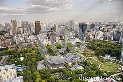 Aerial View of Zojo-Ji Temple, Tokyo Editorial Stock Image