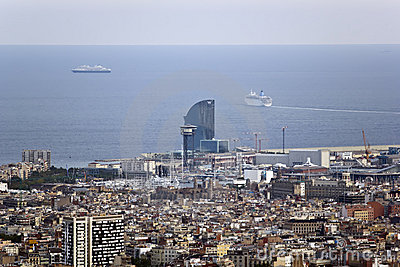 Aerial views of the city of Barcelona, Hotel W