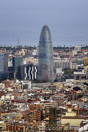 Aerial views of the city of Barcelona