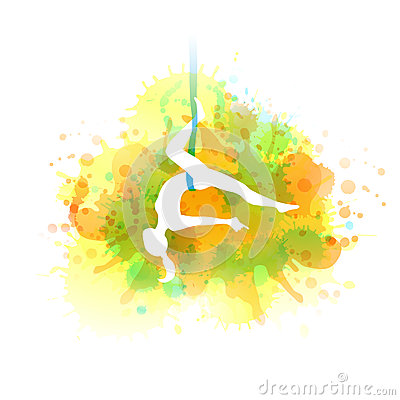Aero yoga illustration. Vector watercolor. Vector Illustration
