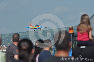 Aerobatic airplanes flying during an air show in Cluj Napoca, Romania Editorial Photo