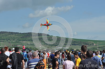 Aerobatic airplanes flying during an air show in Cluj Napoca, Romania Editorial Stock Image