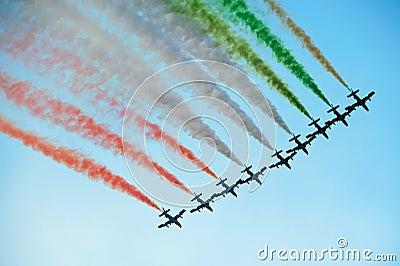 Aerobatics team flying in formation