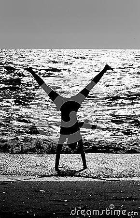 Aerobics on beach