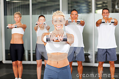 Aerobics with dumbbells