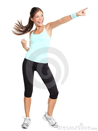 Aerobics fitness woman pointing