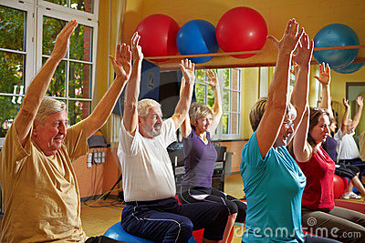 Aerobics in group in gym