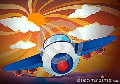 Aeroplan and sun rays