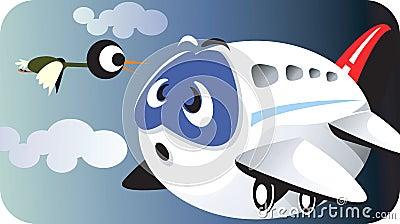 Aeroplane and bird