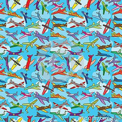 Aeroplane Fly Sky Seamless Texture_eps