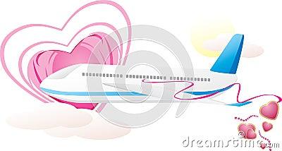 Aeroplano con los corazones. Composición romántica