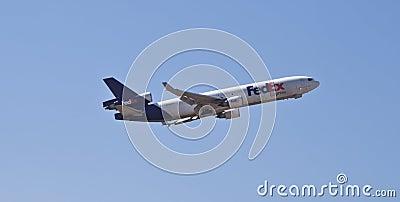 Aeroplano expreso de Federal Express Foto de archivo editorial