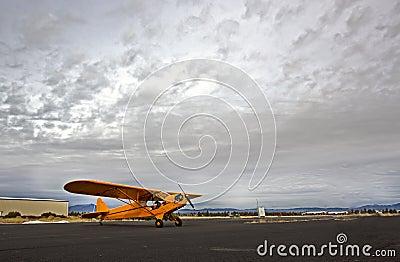 Aeroplano giallo del cucciolo con il cielo drammatico