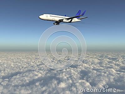 Aeroplano sobre las nubes 3d