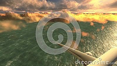 Aeroplano sopra il metraggio del mare archivi video