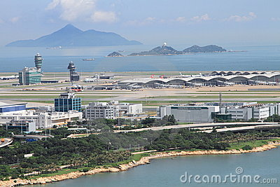 Aeropuerto internacional de Hong-Kong Fotografía editorial