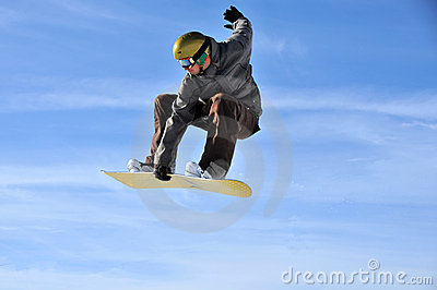Aeroski: snowboarder touches his board