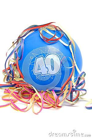 Aerostato di compleanno con il numero 40