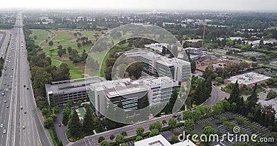 Aerotyczny ruch naprzód w kampusie Samsung Research America SRA w Dolinie Krzemowej zbiory wideo