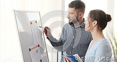 Affärskolleger som analyserar rapporter på whiteboard på kontoret arkivfilmer