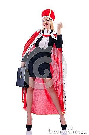 Affärskvinnan i kunglig person passar
