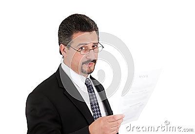 Affärsman med exponeringsglas