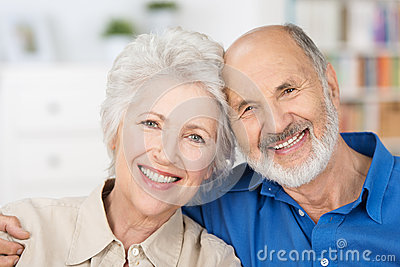 Affectionate happy retired couple