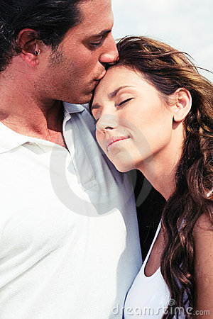 Affectionate man kissing