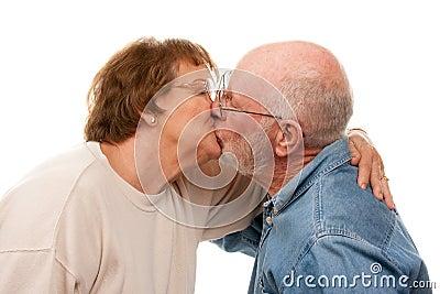 Affectionate Senior Couple Kissing