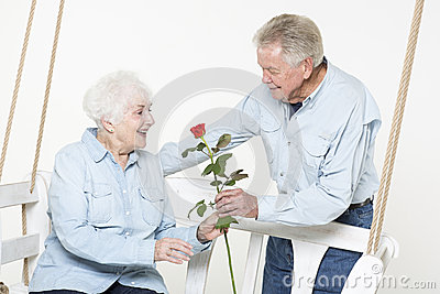 Affectionate senior couple
