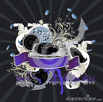 affiche de musique le dj images libres de droits image 13524499. Black Bedroom Furniture Sets. Home Design Ideas