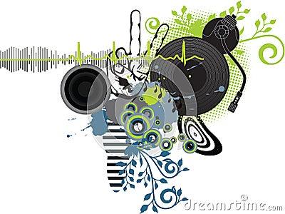 affiche de musique le dj photos libres de droits image 15132068. Black Bedroom Furniture Sets. Home Design Ideas