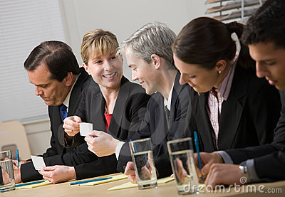Affärskort co som utbyter arbetare