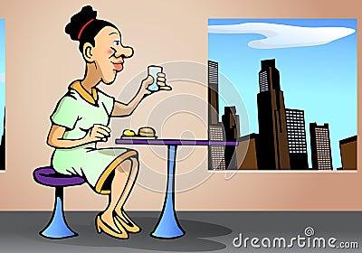Affärskvinnan äter