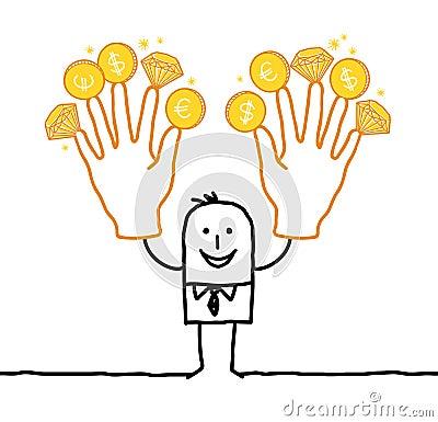 Affärsman med två stora guld- händer
