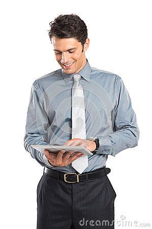 Affärsman Using Digital Tablet