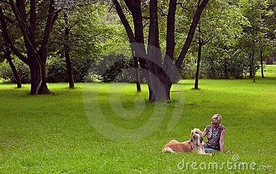 Afghan-dog and woman