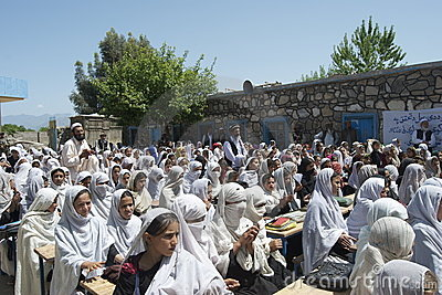 Afghan Girl School Opening Editorial Image