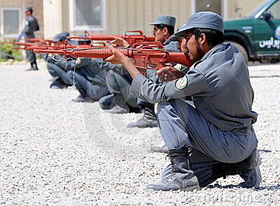 Afghan policemen s training Editorial Image