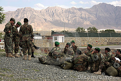 Afghan Recruits wait for assignment instructions Editorial Photography