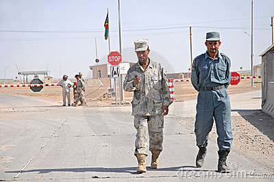 Afghan Soldiers on the Border Editorial Stock Photo