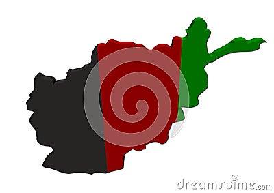 Afghanistan map flag 3d render