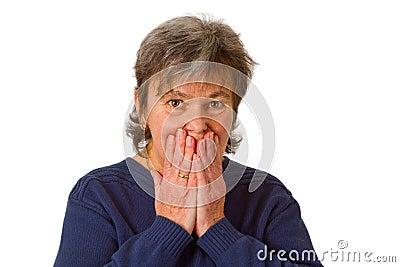 Afraid senior woman